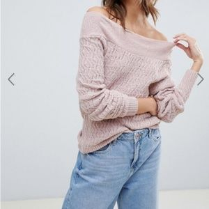 ASOS Pink Off the Shoulder Sweater